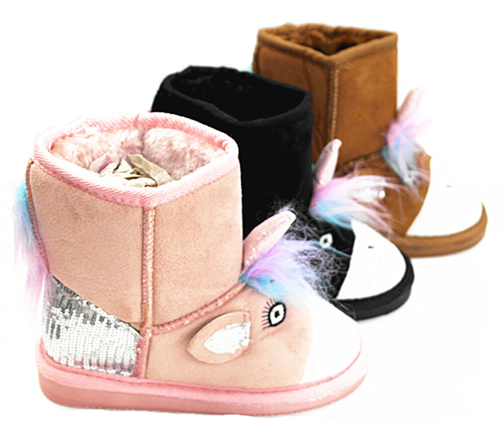 New Girl's Fur Winter Snow Boots Faux Suede Calf Warm Cute
