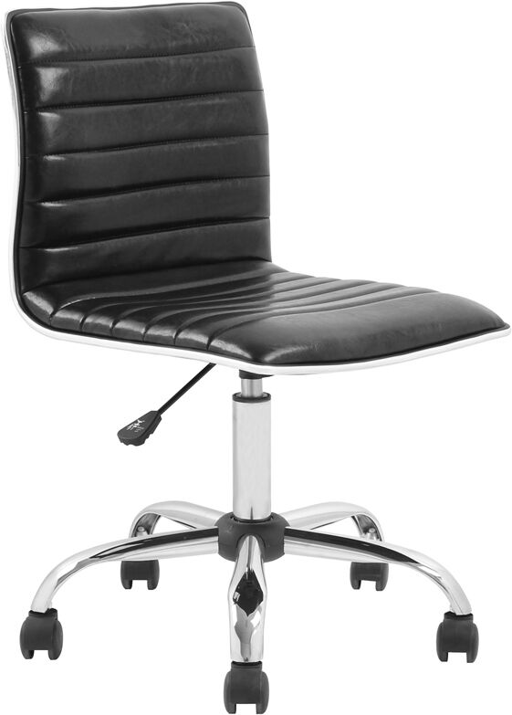 mid back armless black ribbed designer task chair modern 87718