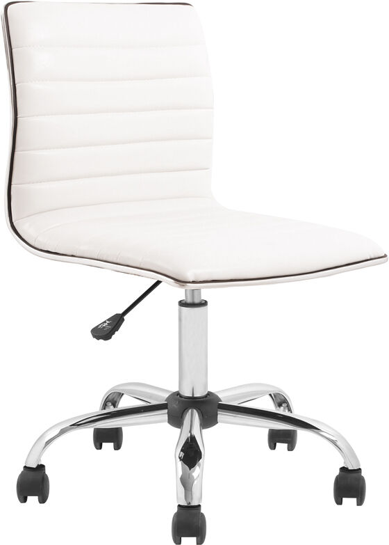 armless white ribbed designer task chair modern office task chair
