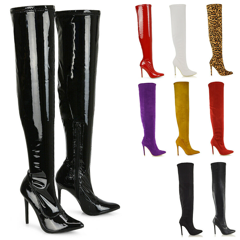Womens Over The Knee Thigh High Stiletto Heel Ladies Stretch Calf Leg Boots Size  Ebay-5465