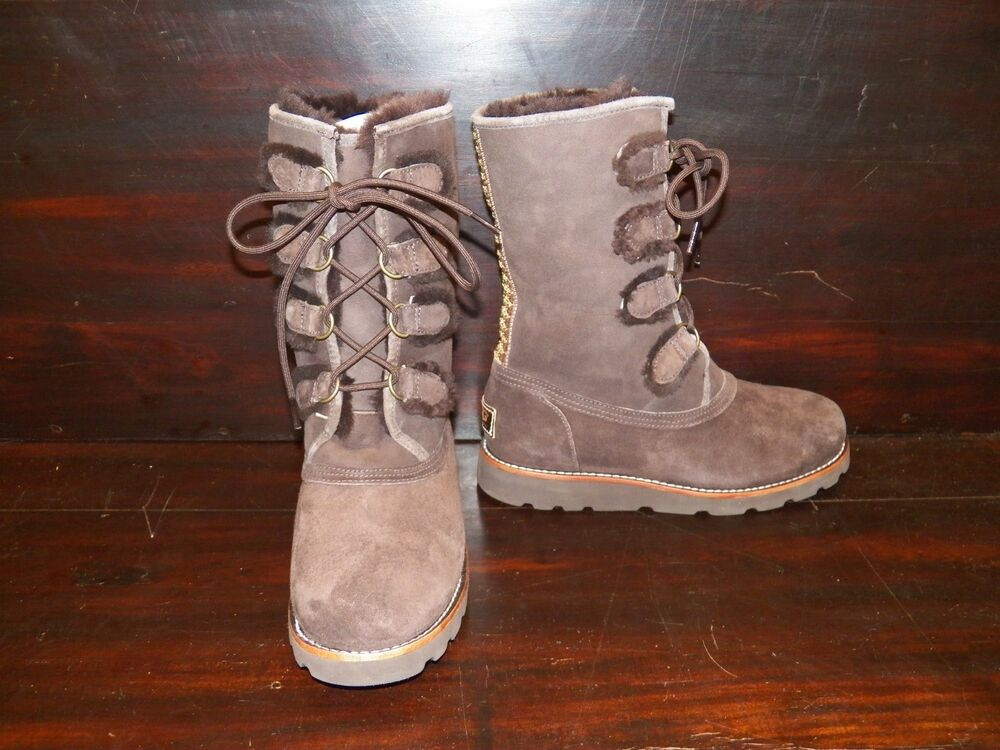 New Womens Ugg Rommy Chocolate Suede Sheepskin Lace Up