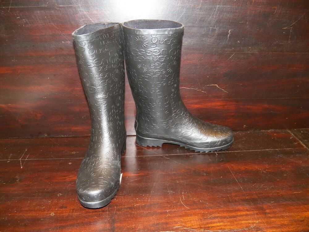 new womens ugg wilshire logo short black rain winter boots