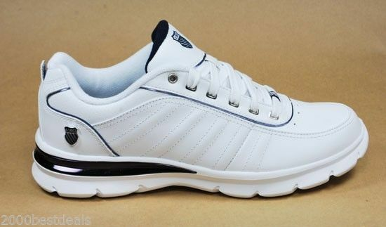 k swiss court leather comfortable white navy tennis shoes