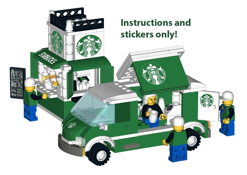 Custom Stickers Starbucks Lego Stand Food Truck Modular