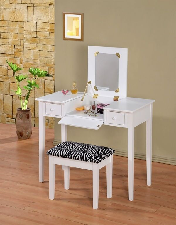 Mirrored Vanity Table And Stool: Wooden Makeup Vanity Table Set With Flip Mirror, White Or