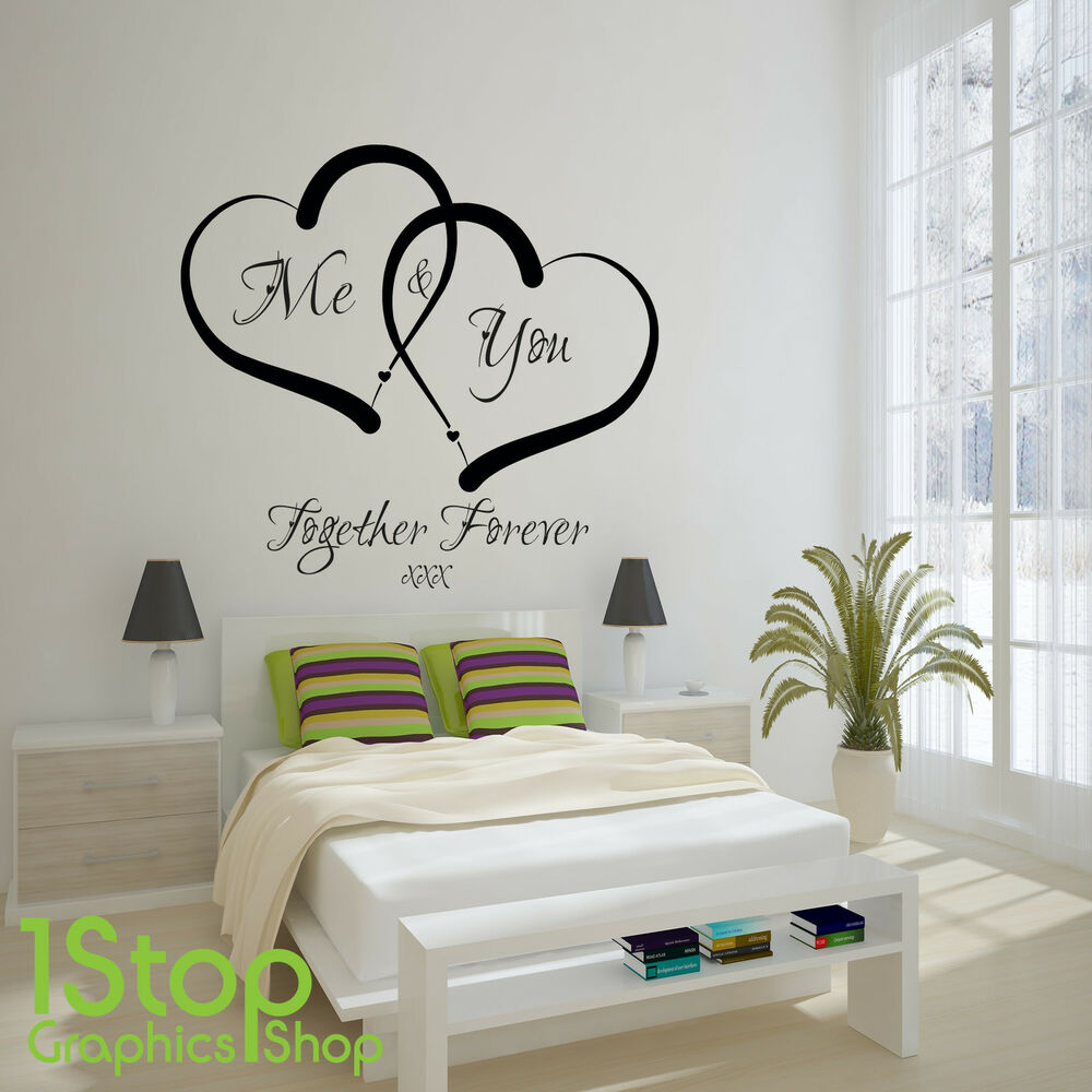 Me and you love heart wall sticker quote home wall art for Home decor quotes on wall