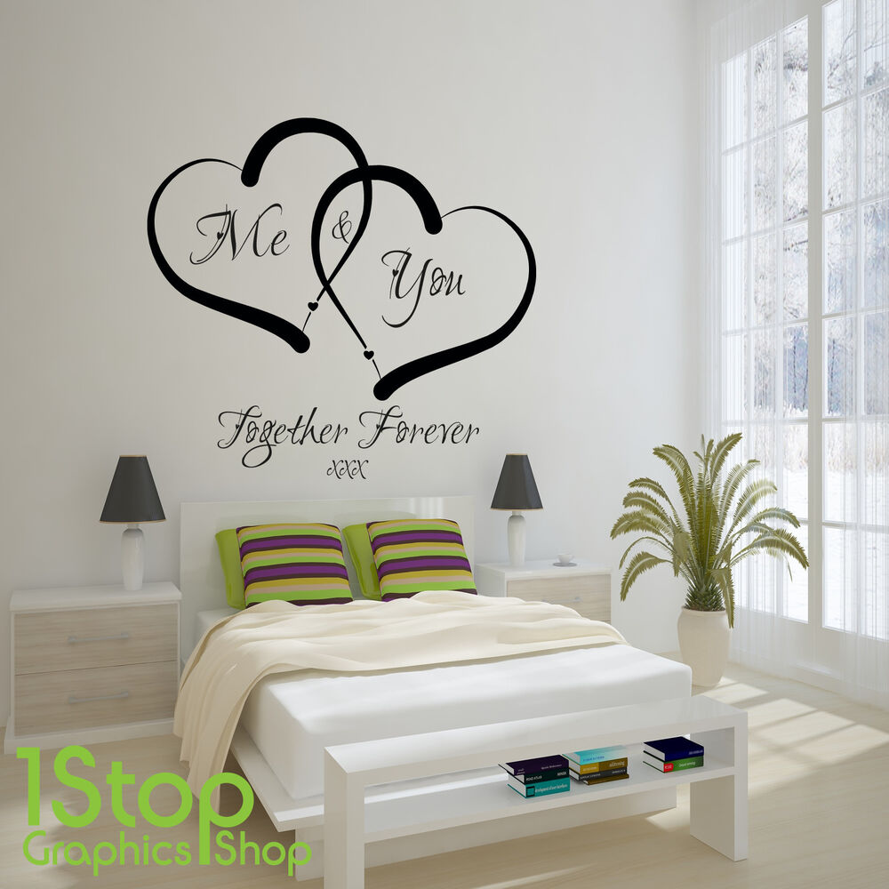 me and you love heart wall sticker quote home wall art. Black Bedroom Furniture Sets. Home Design Ideas