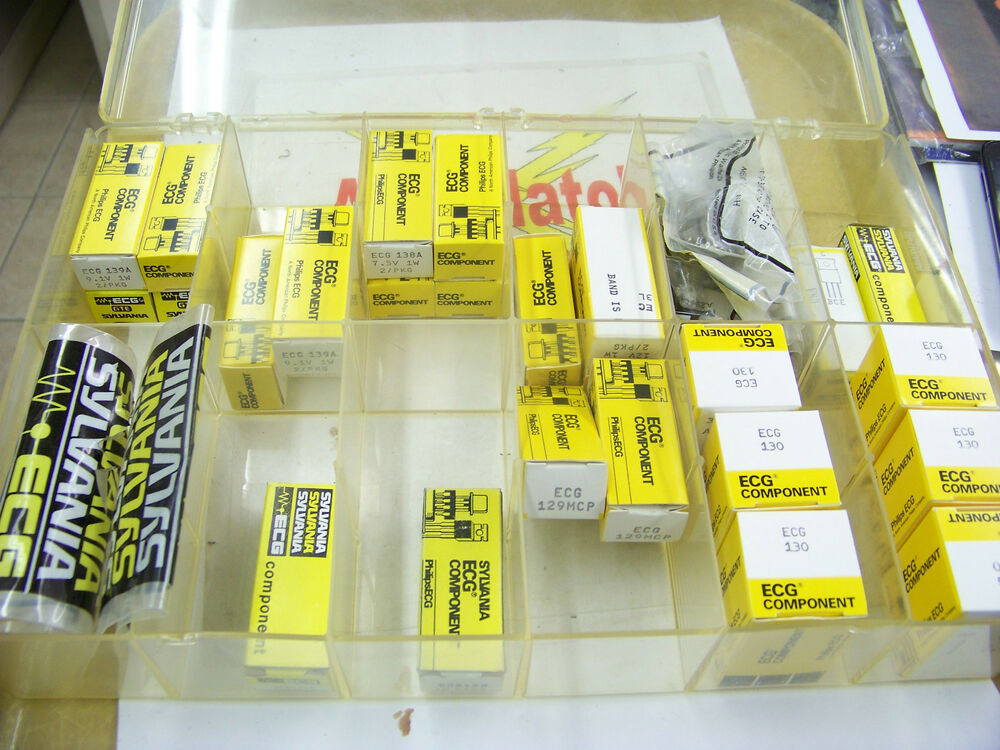 Plastic Assortment Tray of ECG Component Sylvania Diode 123 125 130 ...