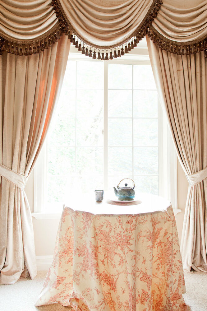 Pearl Dahlia Velvet curtain set with swags and tails, Victorian Style ...
