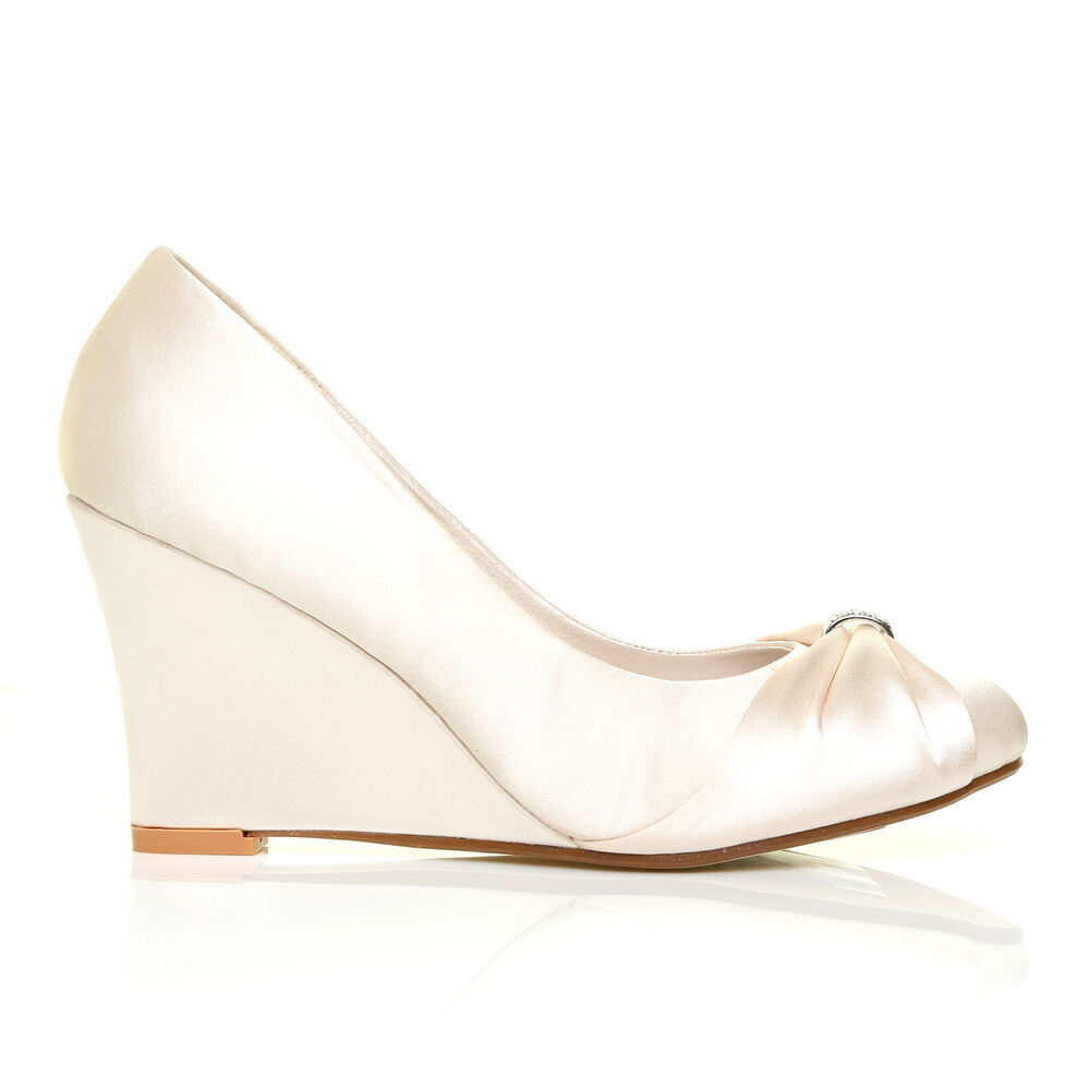 Wedge Heel Shoes For Wedding: EDEN Ivory Satin Wedge High Heel Bridal Court Shoes
