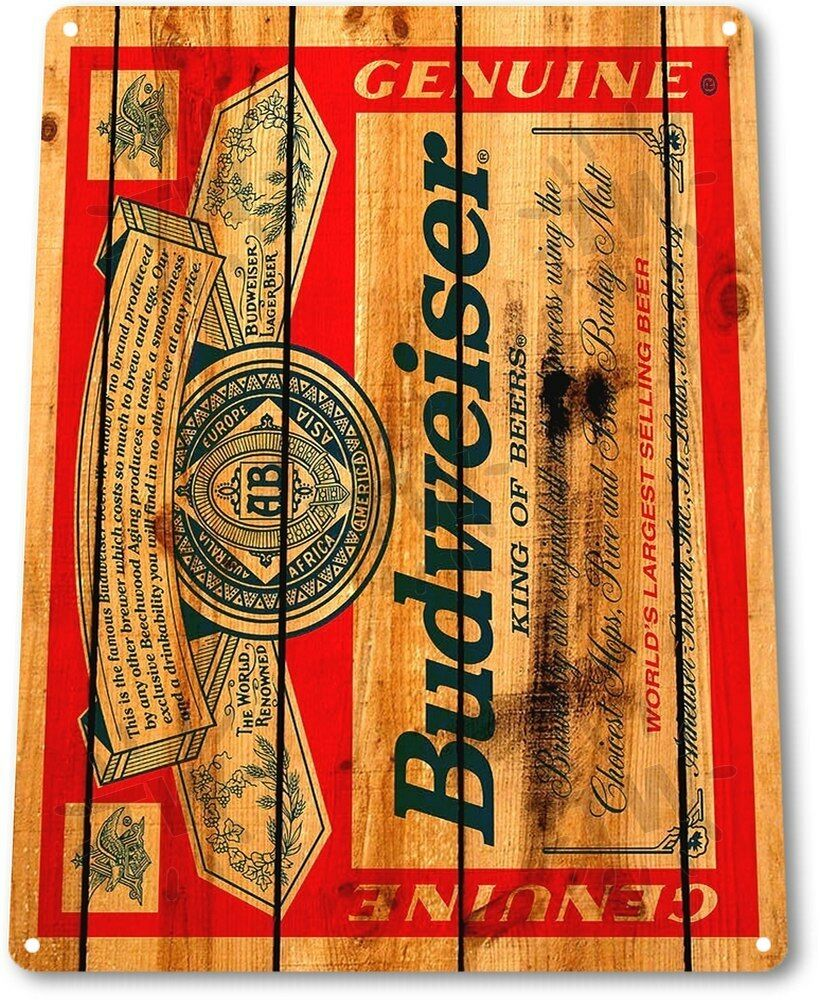 "TIN SIGN ""Budweiser Wood"" Bud Beer Label Metal Decor Wall"
