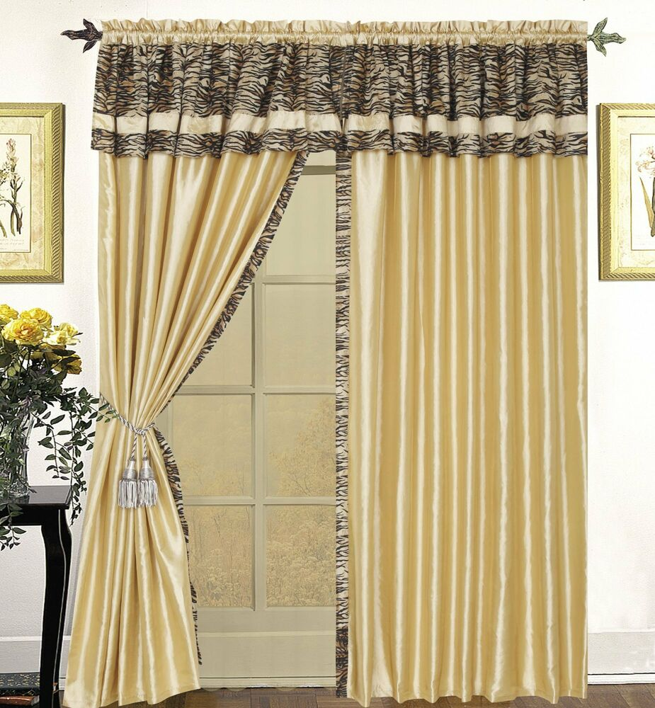Nanshing cameroon leopard print curtains drapes set ebay for Animal print window treatments