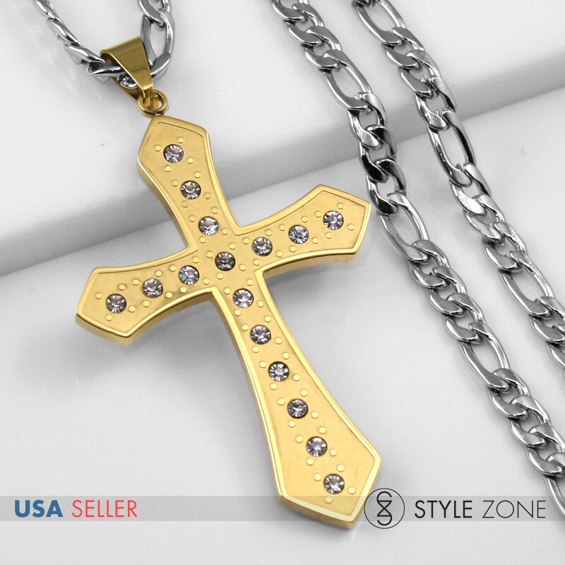 Cross Necklace and Earring Set Stainless Steel Curb Chain Free Ship witin USA