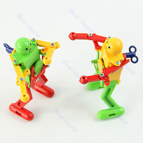 Toys For Spring : Yellow red green clockwork spring wind up dancing robot