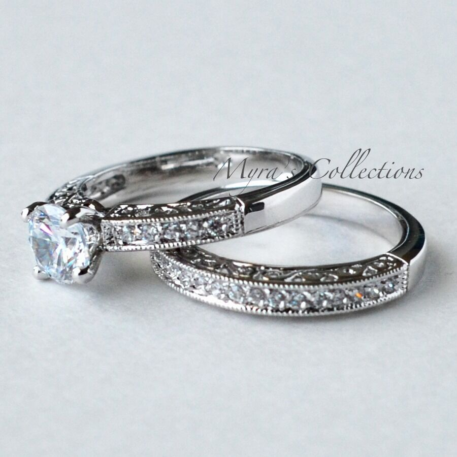 175CT VINTAGE FILIGREE BRIDAL WEDDING ENGAGEMENT RING BAND SET WOMENS SIZE 7