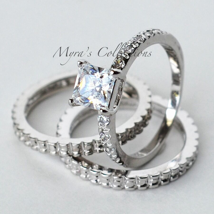 engagement rings with wedding band set 2 02ct deco 3 bridal wedding engagement ring 3916