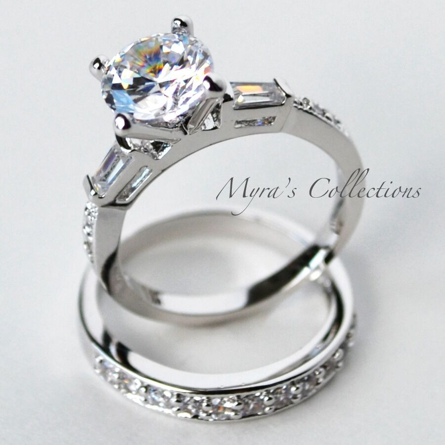 engagement rings with wedding band set 4 0 carat channel set bridal wedding engagement ring band 3916