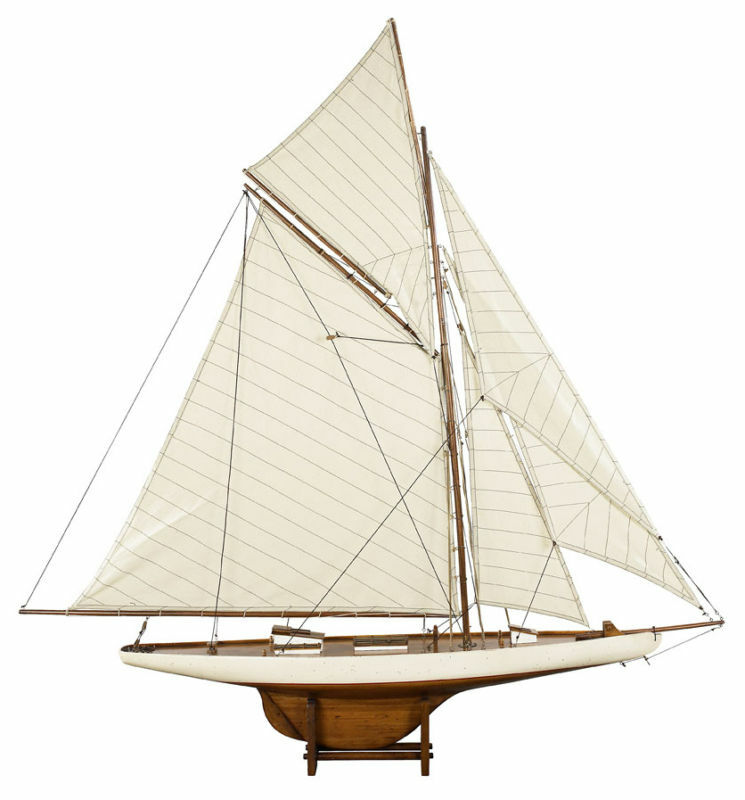 """Columbia 45"""" America's Cup 1901 J Class Yacht Wooden Model Sailboat New 