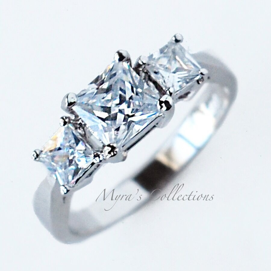 sterling silver past present future princess cut aaa cz