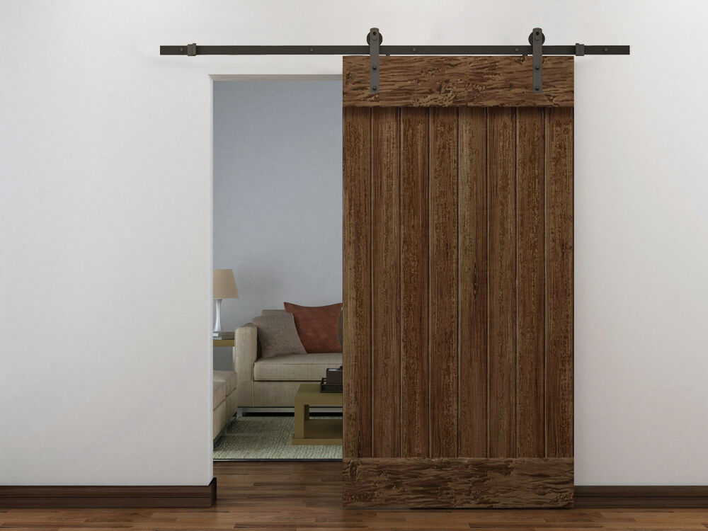 6 ft dark coffee wood steel sliding door hardware set barn for Barn door closet hardware