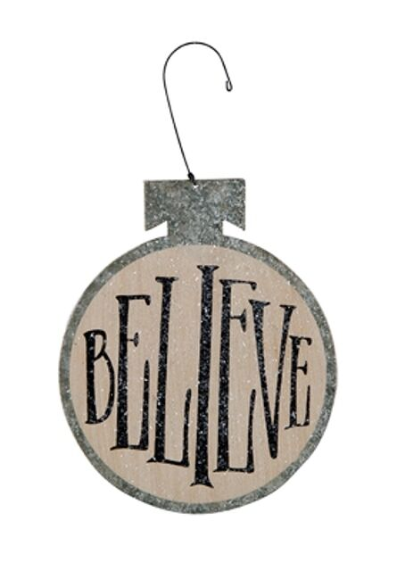 New quot believe tin metal christmas ornament sign