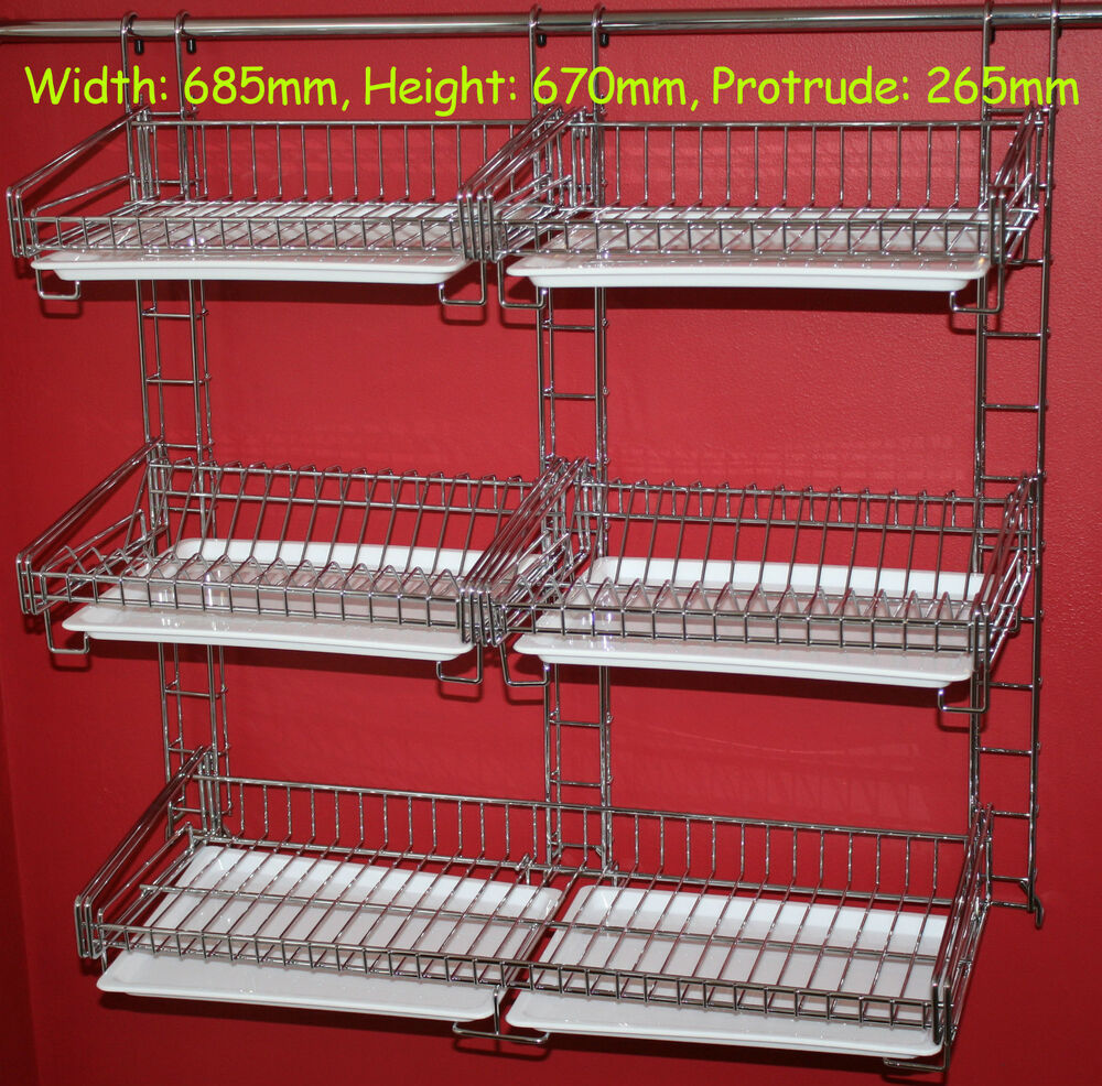 dish drainer rack chrome for hanging rail cutlery plates cup dryer extra large ebay. Black Bedroom Furniture Sets. Home Design Ideas