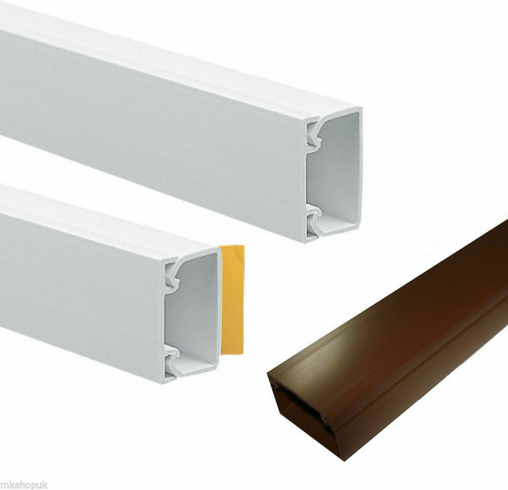 self adhesive mini trunking white brown electrical cable conduit wire channel ebay. Black Bedroom Furniture Sets. Home Design Ideas