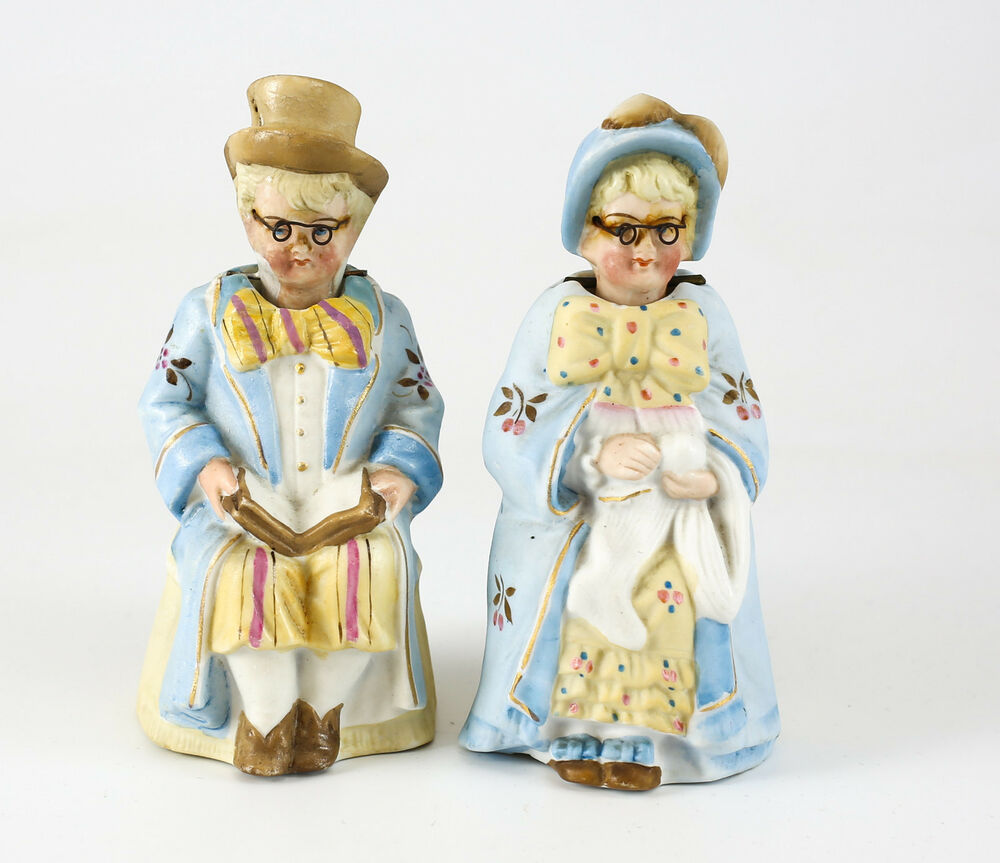 Pair Of Germany Bisque Hand Painted Porcelain Head Nodding