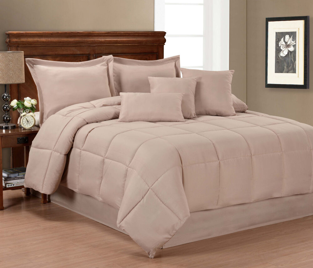 Pur luxe solid color 7 piece comforter set ebay for Pictures of comforters