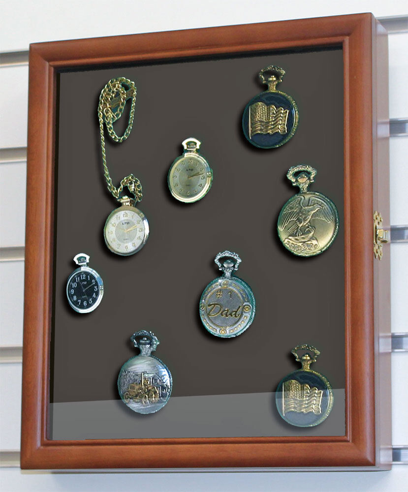 Display Case Shadow Box Cabinet For Pocket Watches Wall