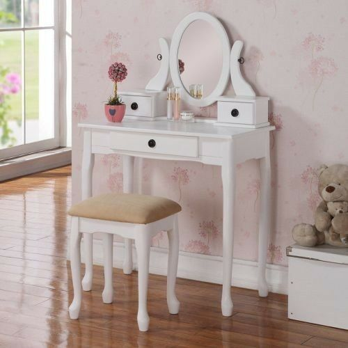 2 Pcs Queen Anne Dainty White Wood 3 Drawer Oval Mirror