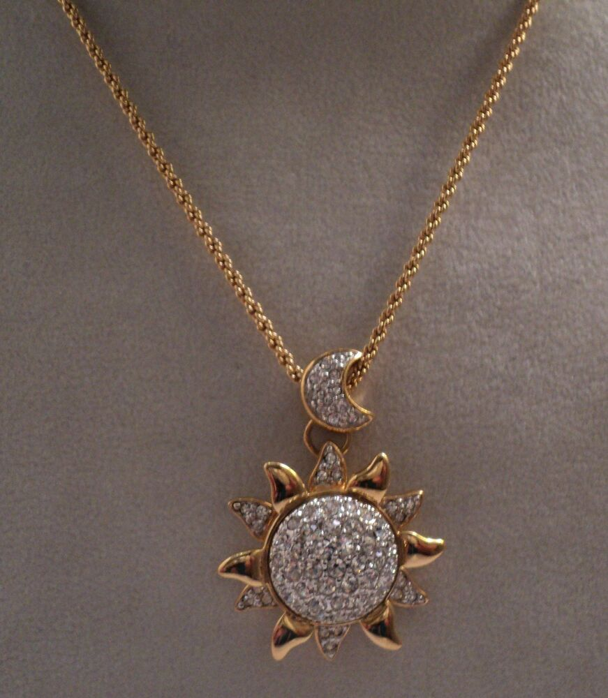 Signed Swan Swarovski Gold Plated Moon And Sun Pendant