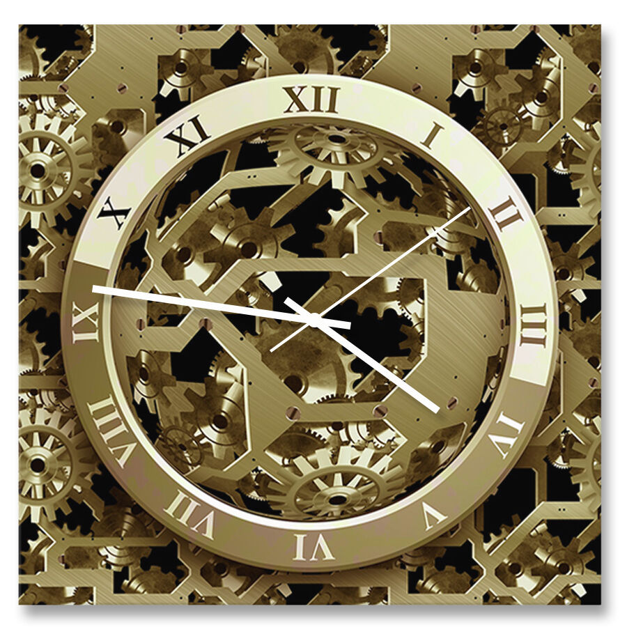 30cm Square Quot Gears Quot Acrylic Wall Clock With Metal Hands Ebay