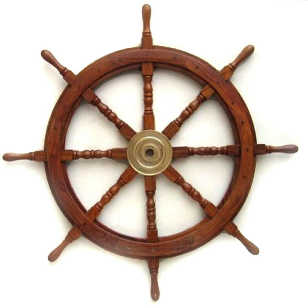 "Nautical Wheel Decor: Large 36"" Boat Ship Wooden Steering Wheel Brass Center"