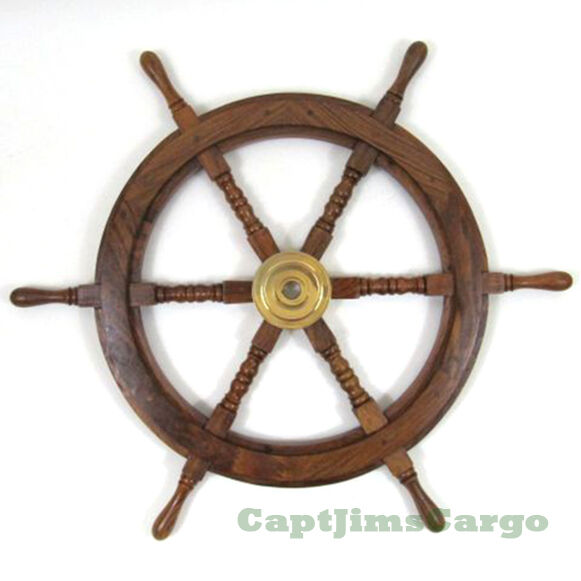"Nautical Wheel Decor: Nautical 30"" Teak Wood Boat Ships Steering Wheel Solid"