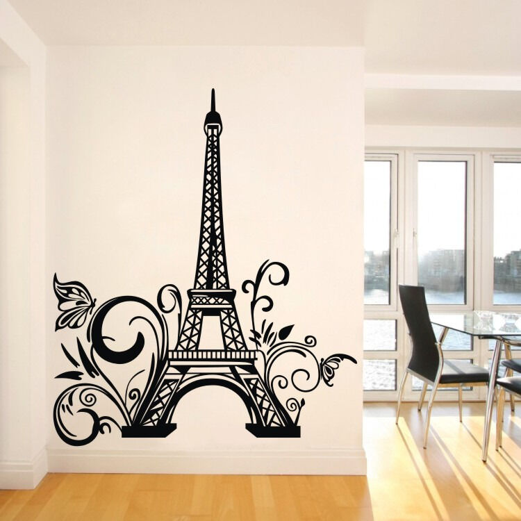 Paris eiffel tower wall sticker removable wall decal art wall mural vinyl decor ebay - Eiffel tower decor for bedroom ...