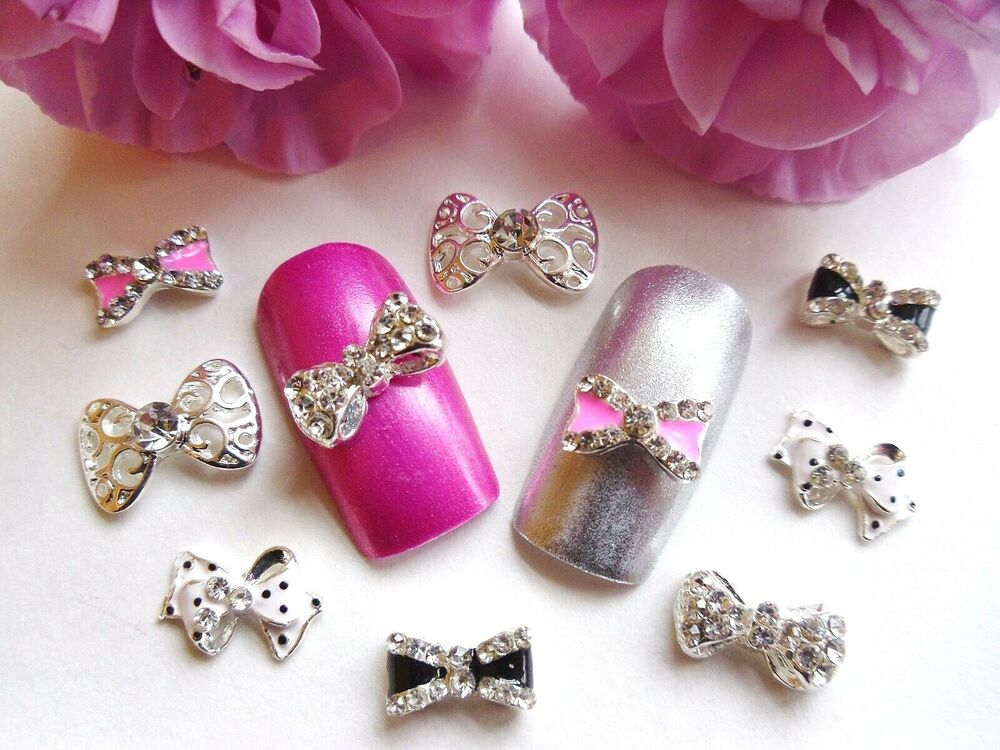 3d nail art pink black silver rhinestone bow mix metal for 3d nail art decoration