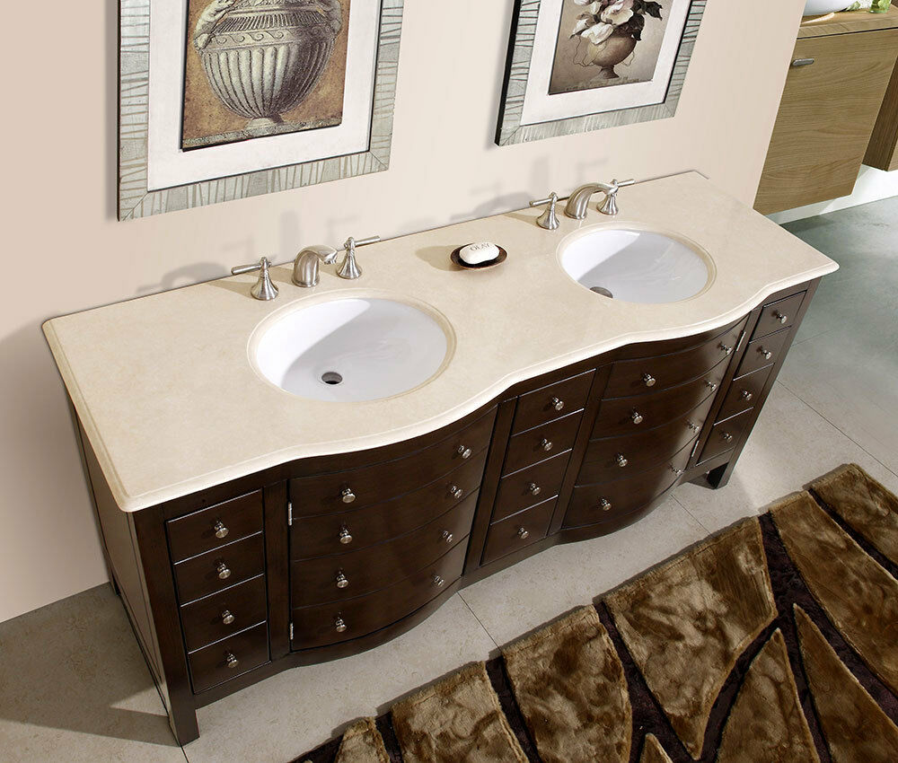 72 bathroom double sink vanity cabinet cream marfil marble stone top 704cm ebay - Double bathroom vanities granite tops ...
