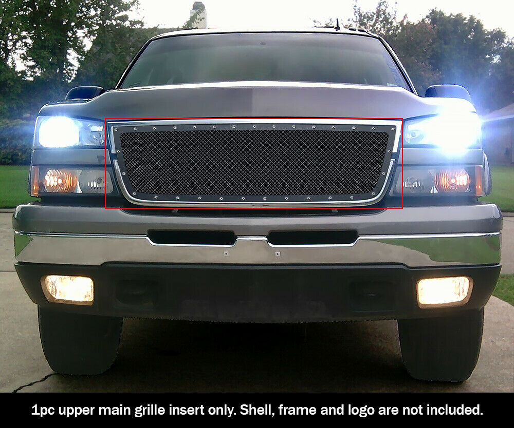 ss blk z mesh grille 06 chevy silverado 1500 05 06 2500 3500 rivet ebay. Black Bedroom Furniture Sets. Home Design Ideas