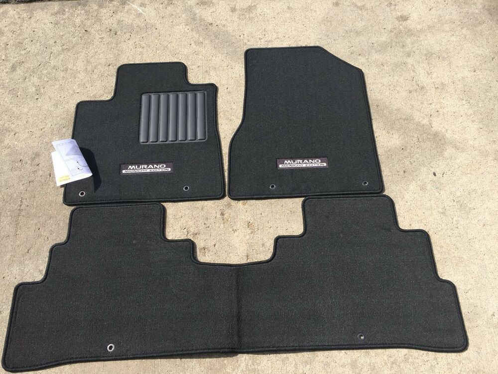 new oem nissan murano 2015 2017 3 pce carpet floor mat set black color only ebay. Black Bedroom Furniture Sets. Home Design Ideas