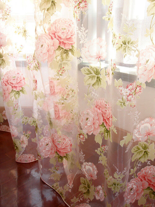 2 Pcs Charming Country Style Pink Flower Sheer Voile