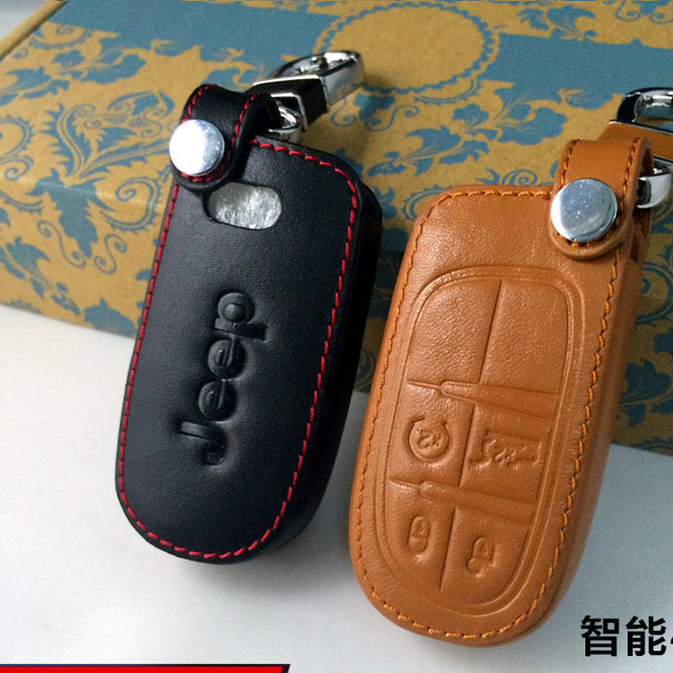 Leather Remote Key Fob Case Holder Cover Fit Jeep Cherokee ...