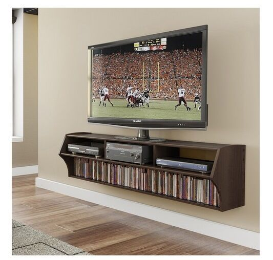 Nw Brown Tv Stand Floating Wall Mount Media Storage