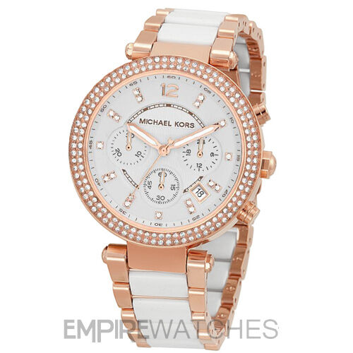 new michael kors ladies parker rose gold white watch. Black Bedroom Furniture Sets. Home Design Ideas