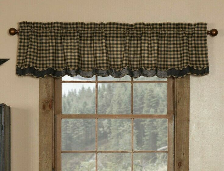 Scalloped Valances For Windows : Black check layered scalloped window valance rustic