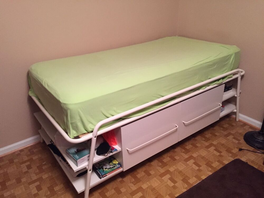 Ikea morrum twin bed with storage ebay for Double bed with storage and mattress