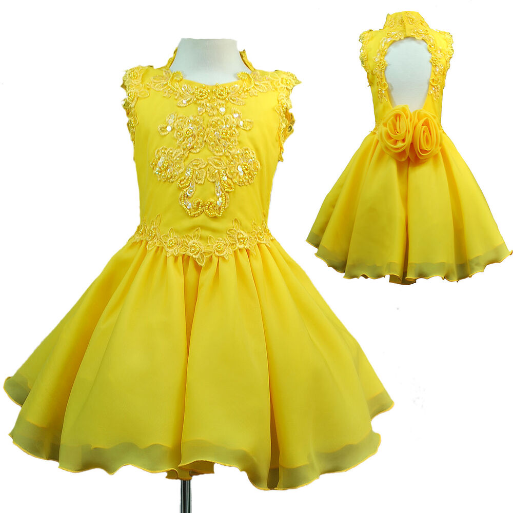 INANT Amp GIRL PAGEANT FLOWER GIRL DANCE PARTY SHORT DRESS YELLOW 1 2 3 4 5 6 7