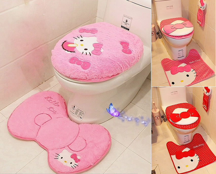 hello kitty toilet seat cover cushion and rug bathroom mat home decor 3 pcs set ebay. Black Bedroom Furniture Sets. Home Design Ideas