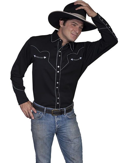 men 39 s new scully snap western cowboy rodeo shirt black ebay
