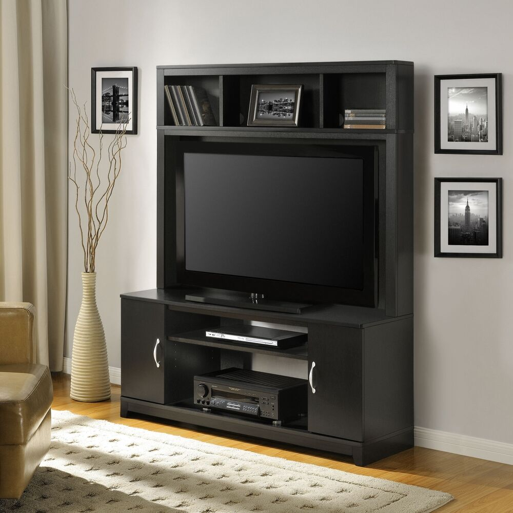 Modern tv stand media entertainment center console home theater wood furniture ebay - Media consoles for small spaces plan ...